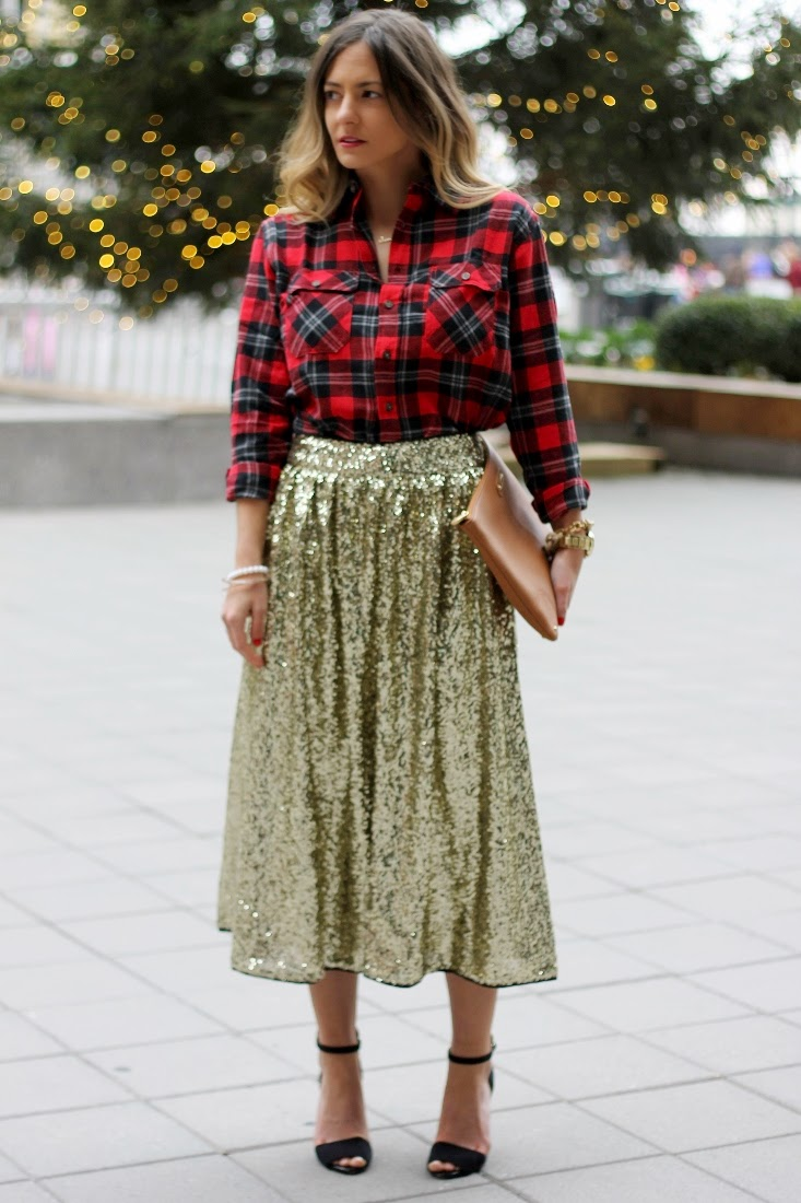gold sequin Christmas outfit