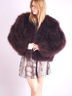 Vintage brown fluffy ostrich feather coat with hidden front closure.