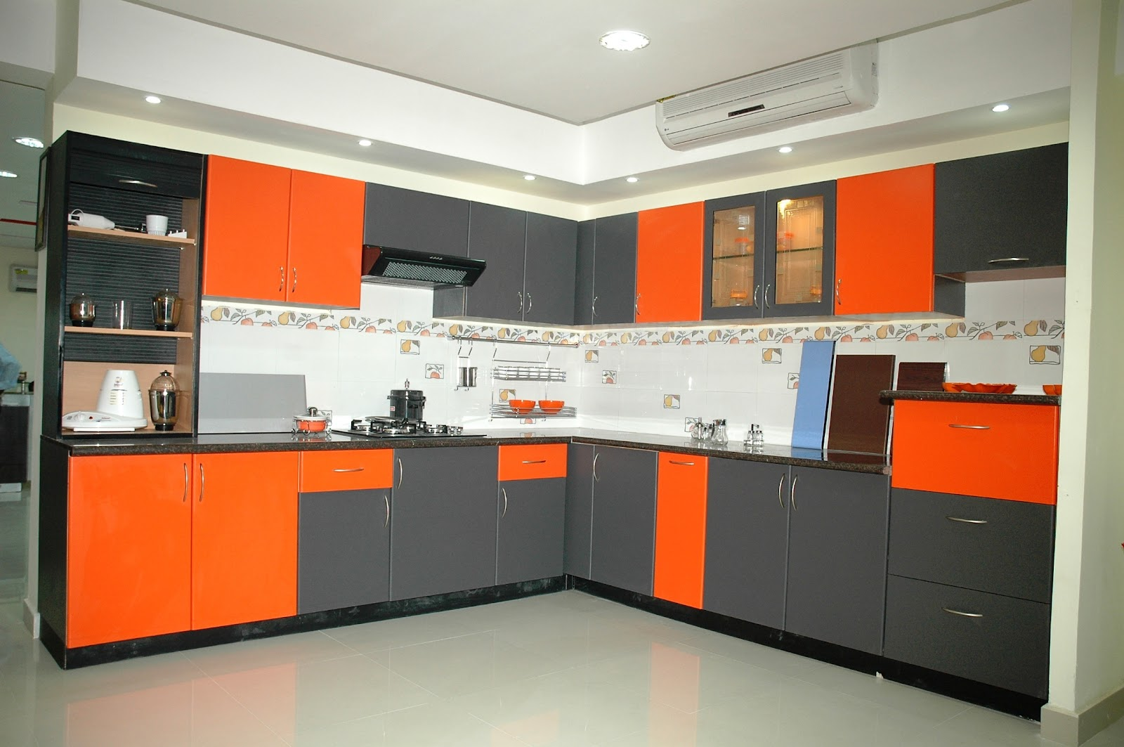 Chennai kitchen modular interiors chennai kitchen for Modular kitchen shelves designs
