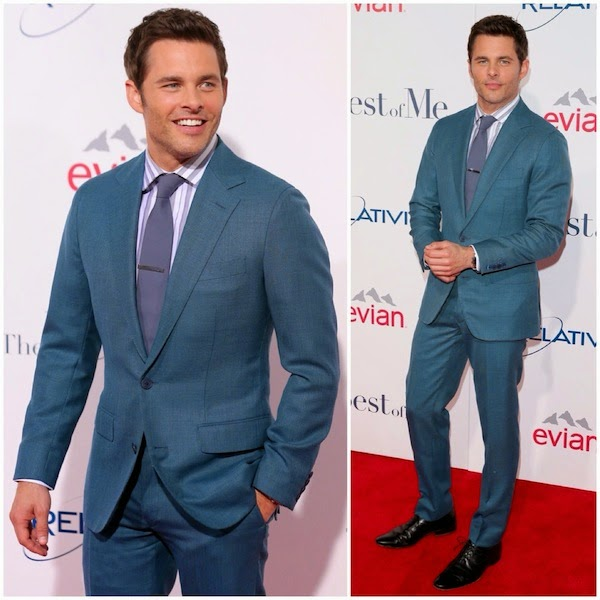 James Marsden wears Thom Sweeney teal coloured suit to The Best Of Me premiere Los Angeles October 2014