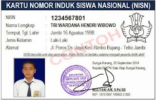 Contoh Kartu Nomor Induk Siswa Nasional