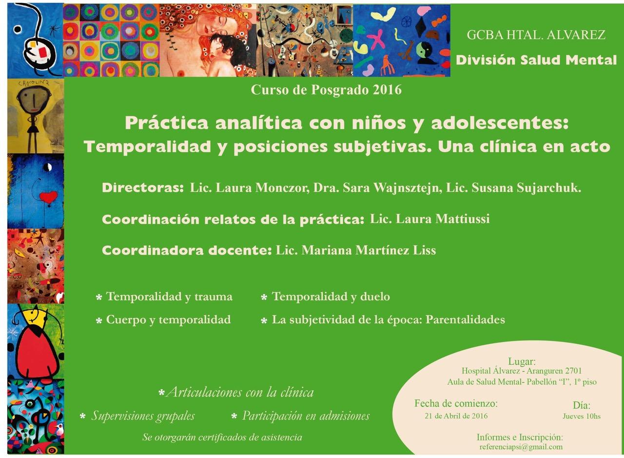 CURSO DE POSTGRADO EN CLÍNICA CON NIÑOS Y ADOLESCENTES ABRIL-NOV 2016