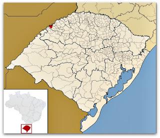 Município de Porto Xavier, no mapa do Rio Grande do Sul