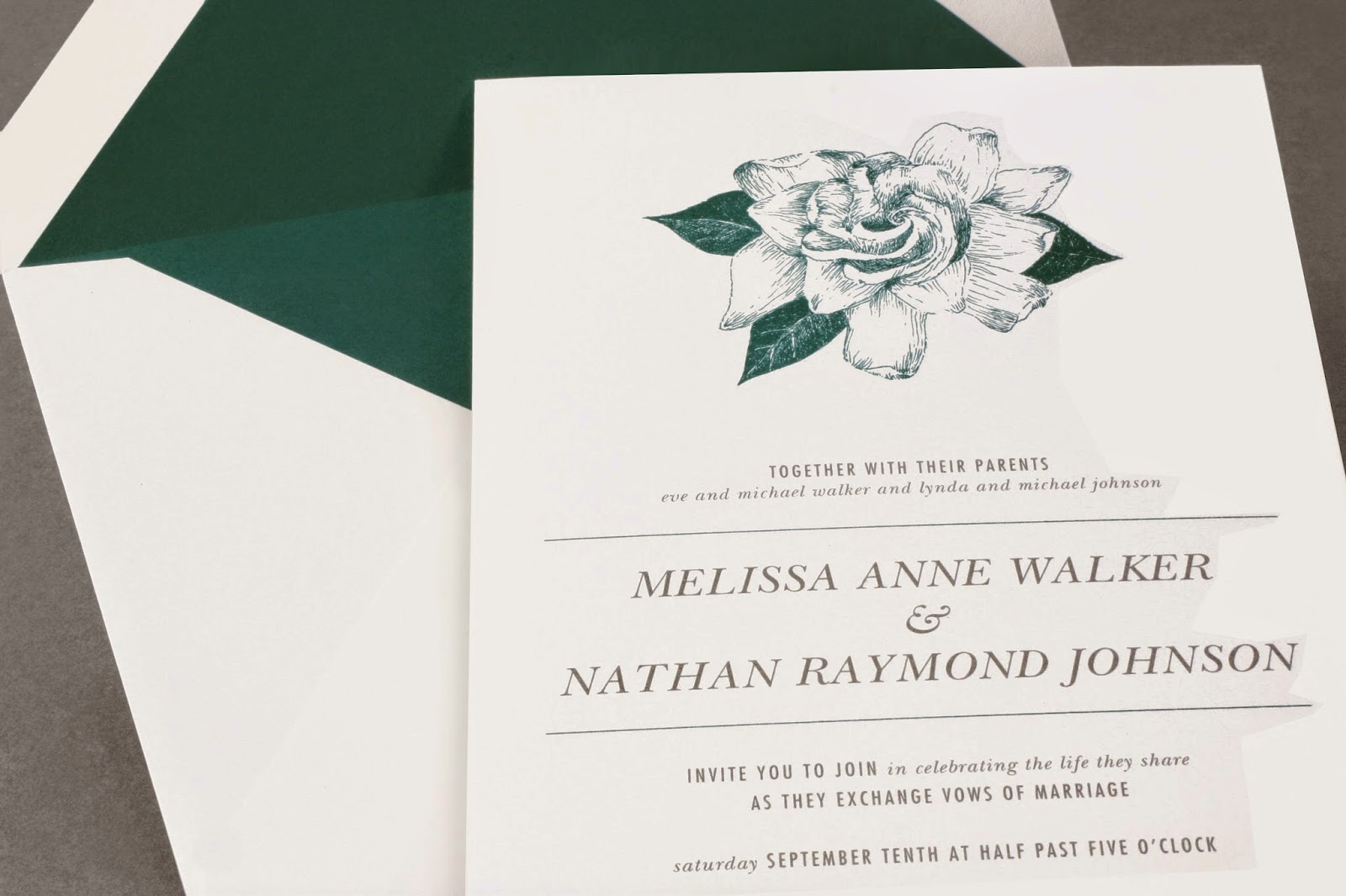 Vera Wang Wedding Invitation With Etched Teal Flower Motif