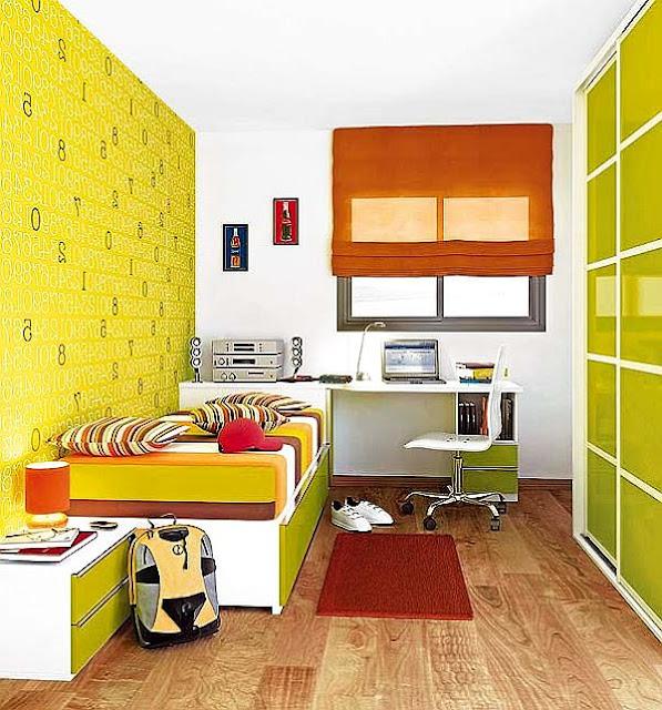 яркий дизайн маленькой комнаты для подростка мальчика фото
