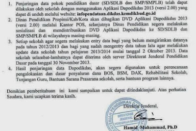Data Dapodikdas selambat-lambatnya dapat diterima pada 30 November 2013