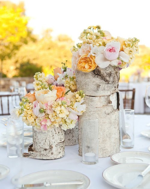 Glitz bliss decoration ideas birch wood and flowers for Wood vases for centerpieces