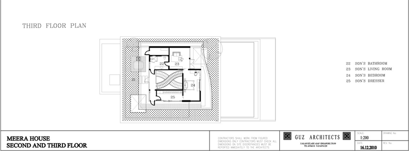 Third floor plan of an Amazing home with impressive green roof, Singapore