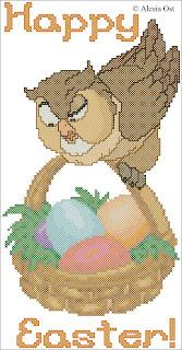 Free cross-stitch patterns, Friend Owl, Easter, owl, bird, animal, Bambi, Easter eggs, basket with Easter eggs, Disney, cartoon, cross-stitch, back stitch, cross-stitch scheme, free pattern, x-stitchmagic.blogspot.it, вышивка крестиком, бесплатная схема, punto croce, schemi punto croce gratis, DMC, blocks, symbols