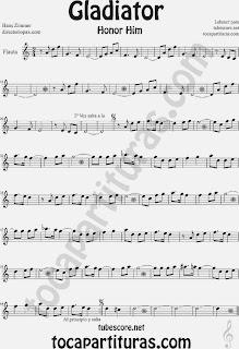 Partitura de Gladiator para Flauta Travesera, flauta dulce y flauta de pico by Hans Zimmer Sheet Music for Flute and Recorder Music Score