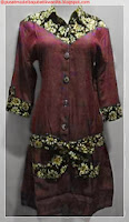 model baju batik kombinasi satin coklat
