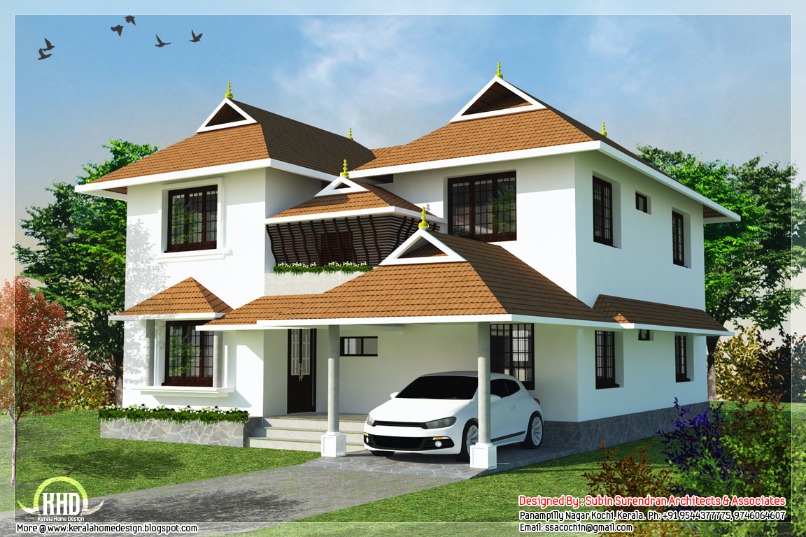 4 bedroom traditional kerala home design kerala home for Traditional home design ideas