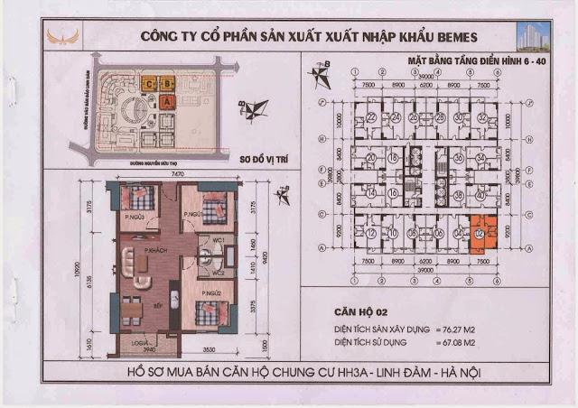 Căn hộ 02 - Chung Cư HH3A Linh Đàm