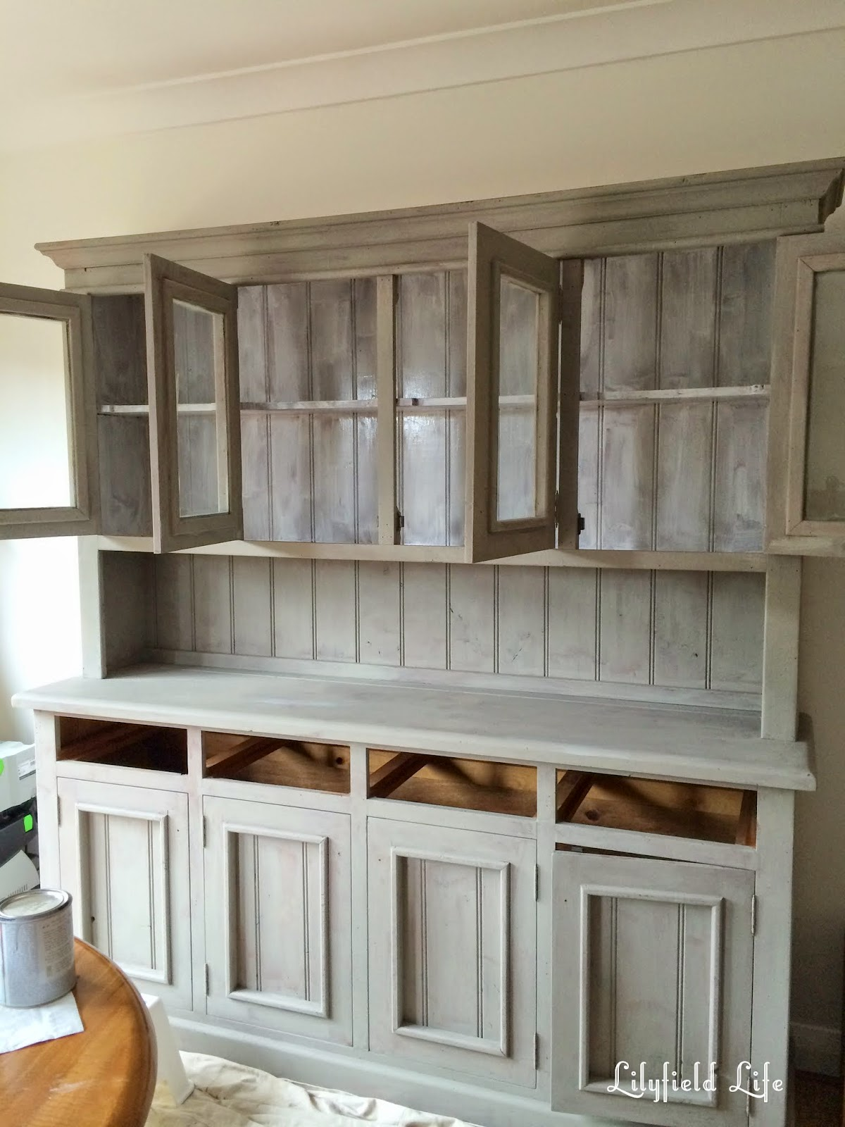 painting pine furniture. hand painted pine hutch by Lilyfield Life