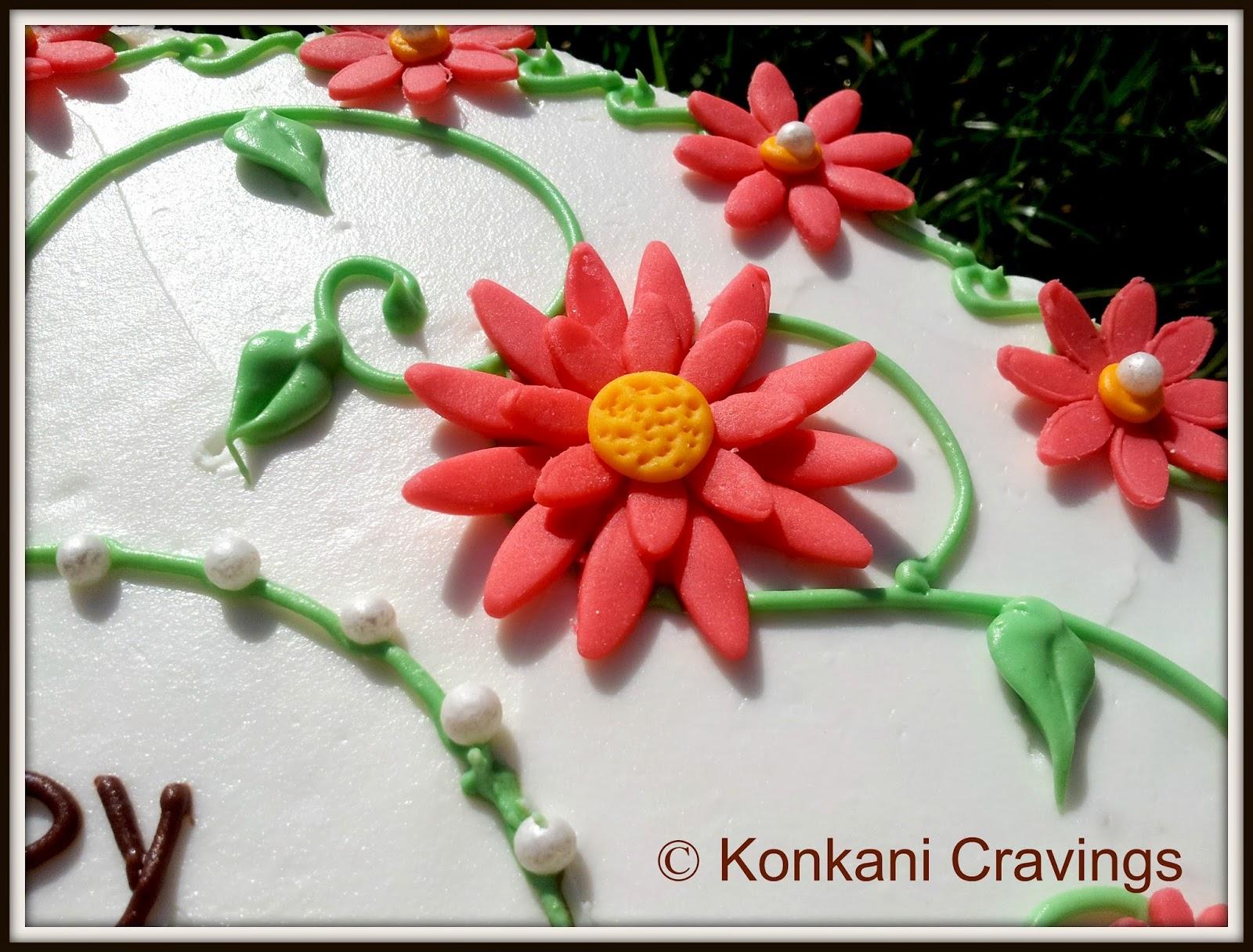 KONKANI CRAVINGS: Birthday Cake - With Fondant Flowers
