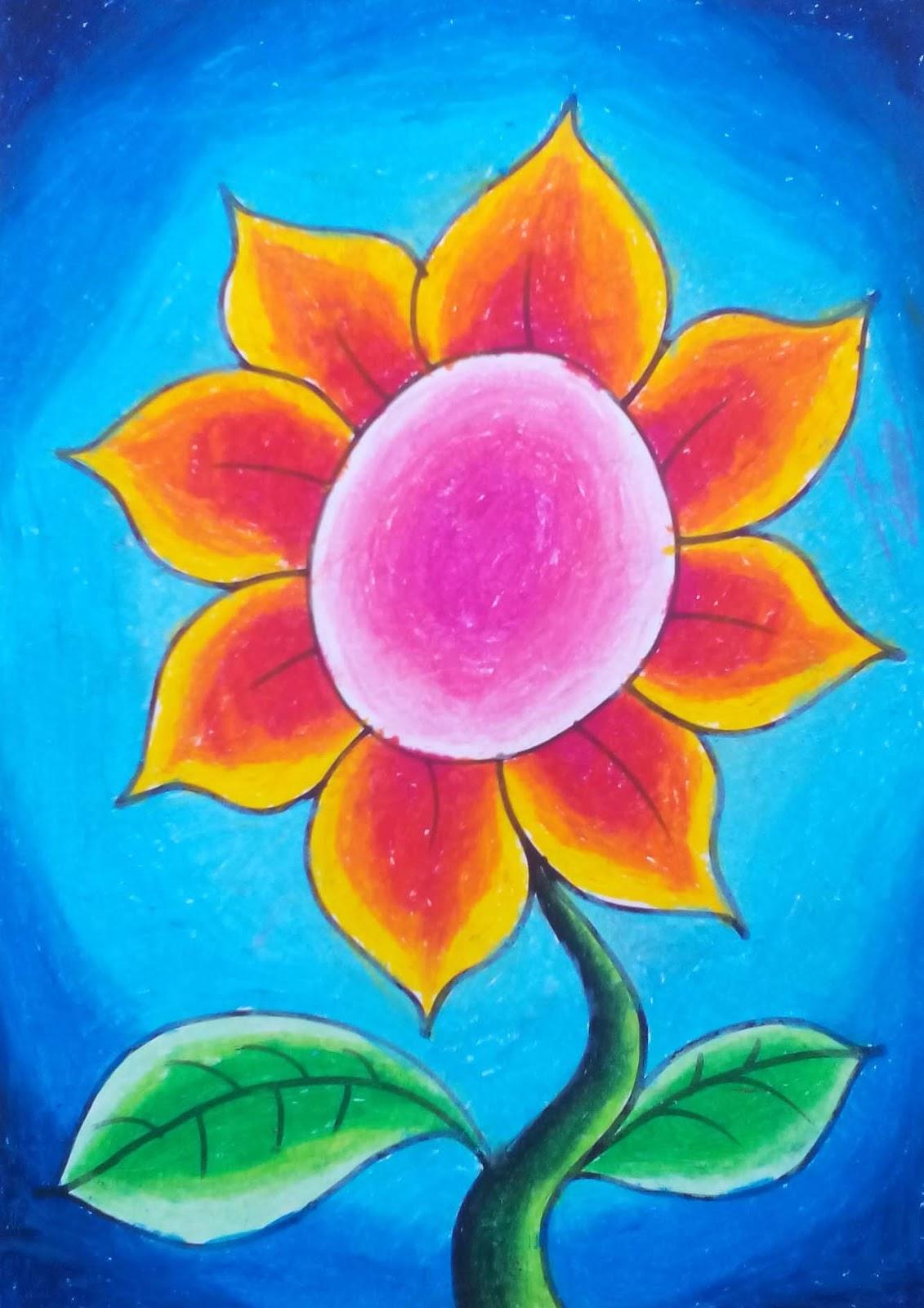 Untuk mewarnai silakan Anda menggunakan krayon oil pastel bermerk Faber Castle Pentel Titi atau merk lainnya Selain itu kita membutuhkan gambar bunga