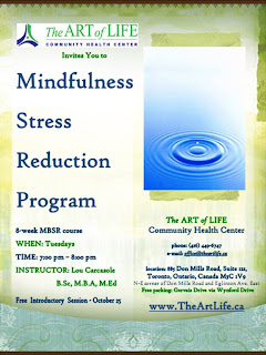 mindfulness meditation MBSR program in Toronto, Lou Carcasole, art of life community health centre