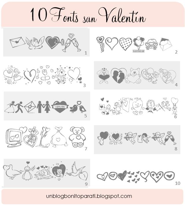 Diseño de blogs: Tipos de letras para San Valentin
