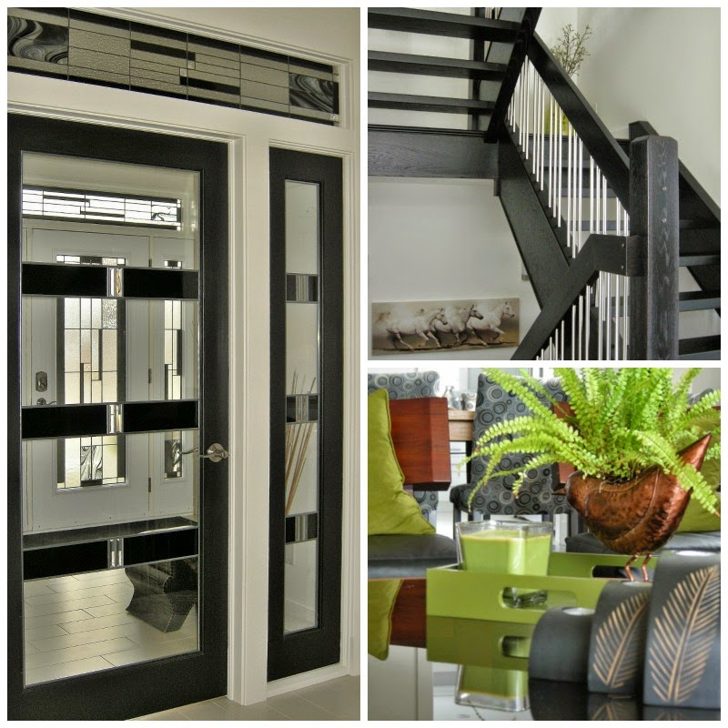 high contrast black doors, black stairs, dark wood finishes