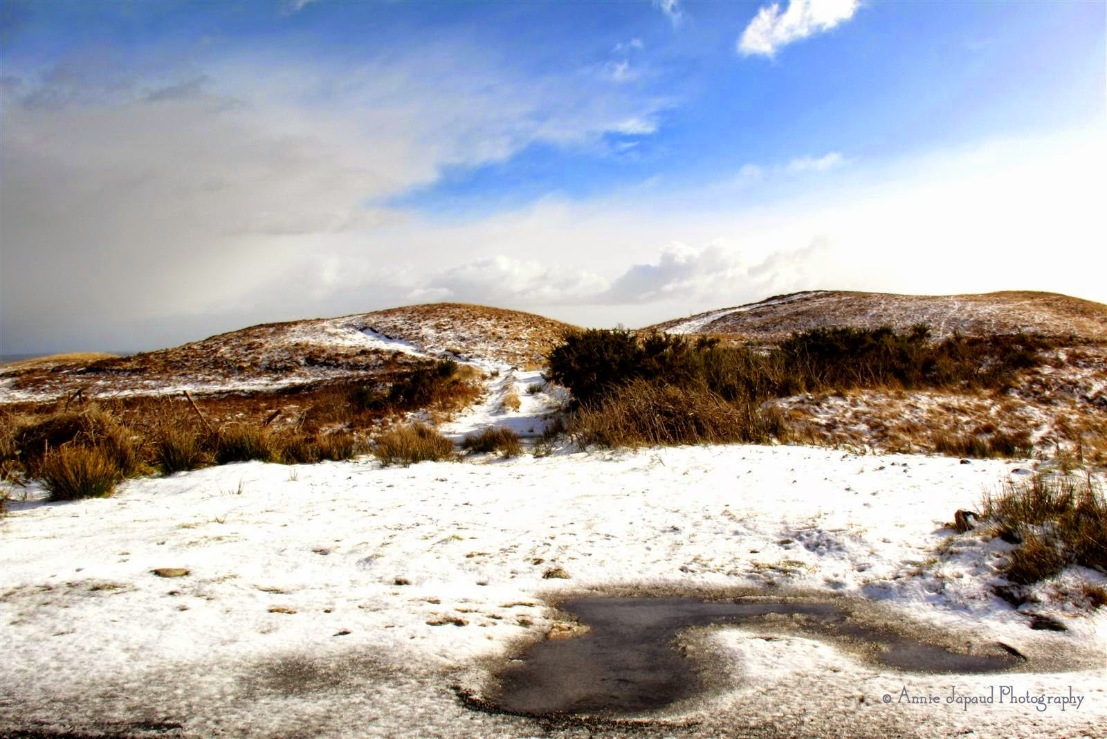 Snow covered hills of Connemara, frozen puddle