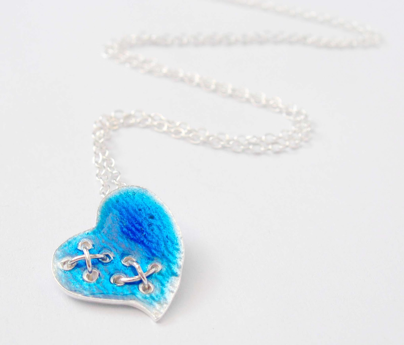 Enamelled Silver Kiss my Heart Pendant in Sapphire Blue