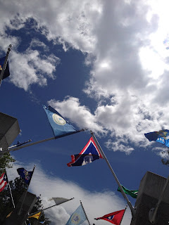 flags fly at Mt. Rushmore