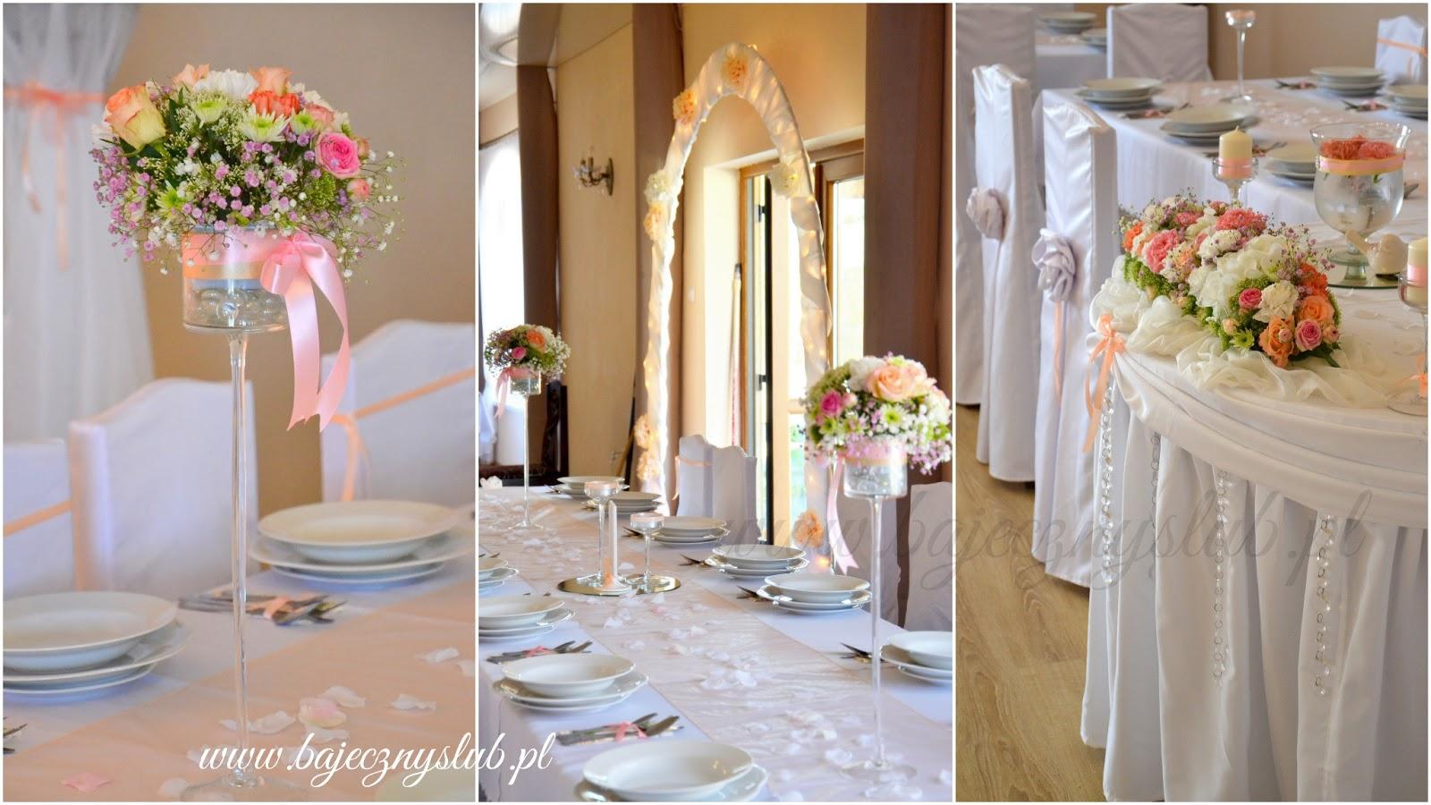 Bajeczny ślub świdnica Dekoracje ślubne Pastelowo łososiowa