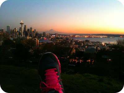 Seattle sunset running