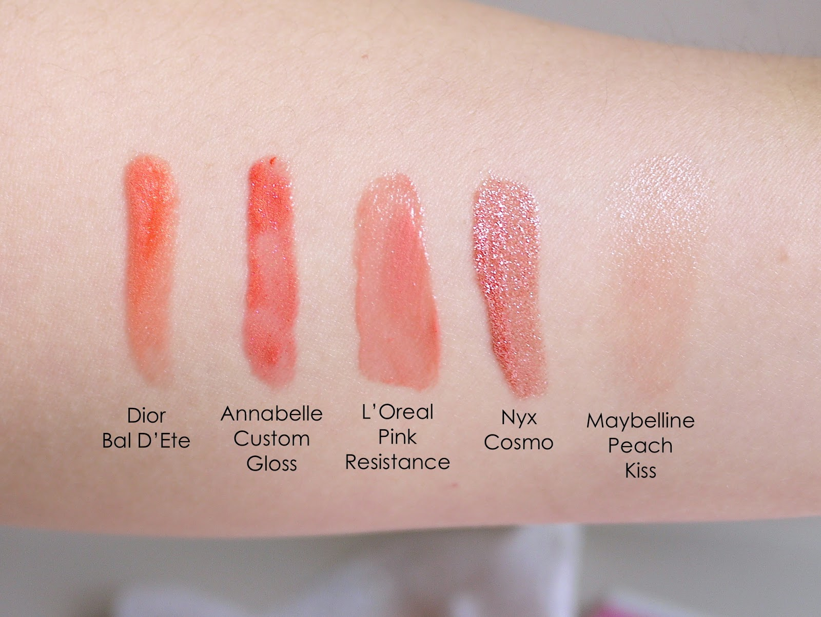 Dior Bal D'ete L'oreal pink resistance nyx cosmo maybelline peach kiss swatch