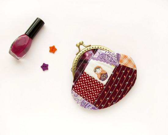matryoshka patchwork purse, кошелек с матрешкой
