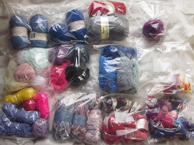 wool in plastic bags