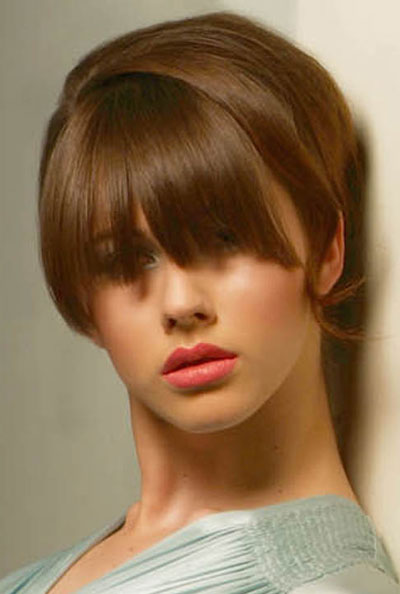 Medium Hairstyles With Full Bangs. full fringe hairstyle.