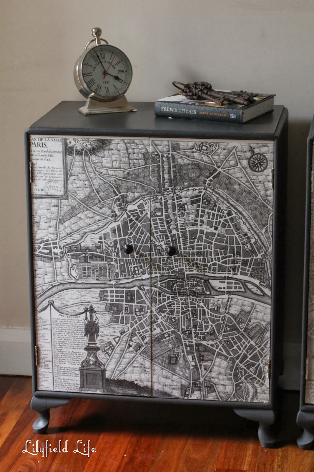 lilyfield life vintage paris map cabinets. Black Bedroom Furniture Sets. Home Design Ideas
