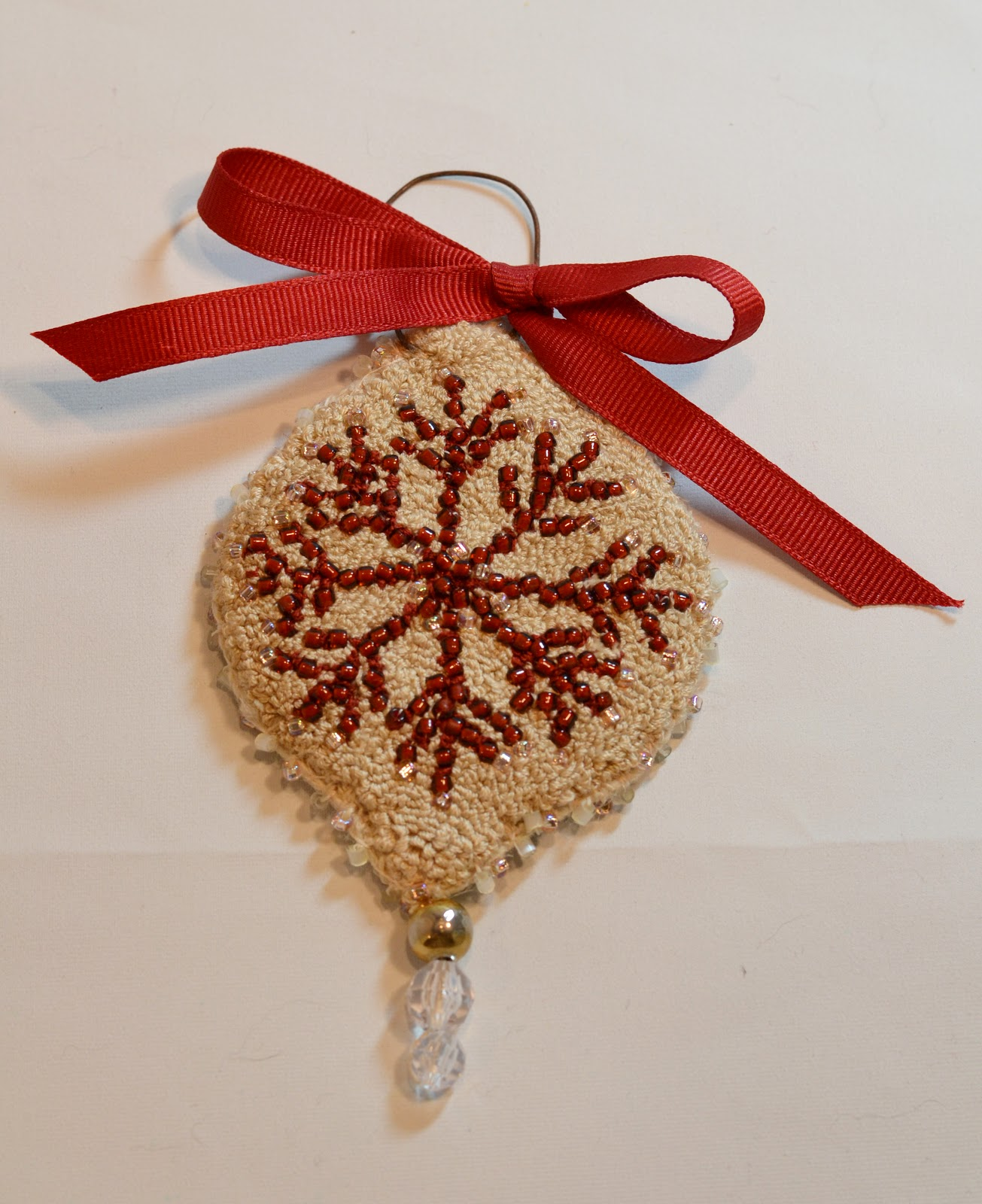 Red Punch Needle Beaded Ornament