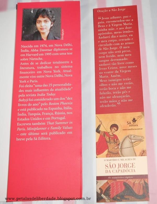 Sobre a autora Abha Dawesar, marcador de páginas com oração de São Jorge