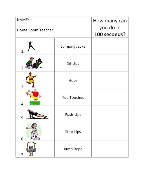 Physical Education and More: 100 Second Challenge