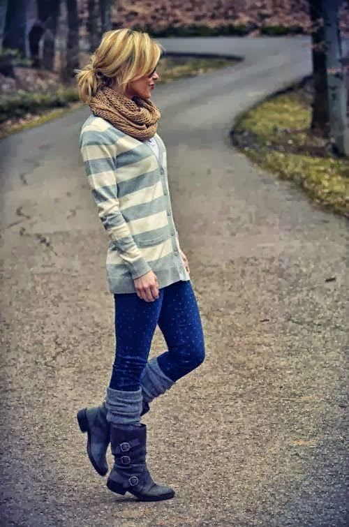 Fall Outfit With Cute Blue & White Cardigan