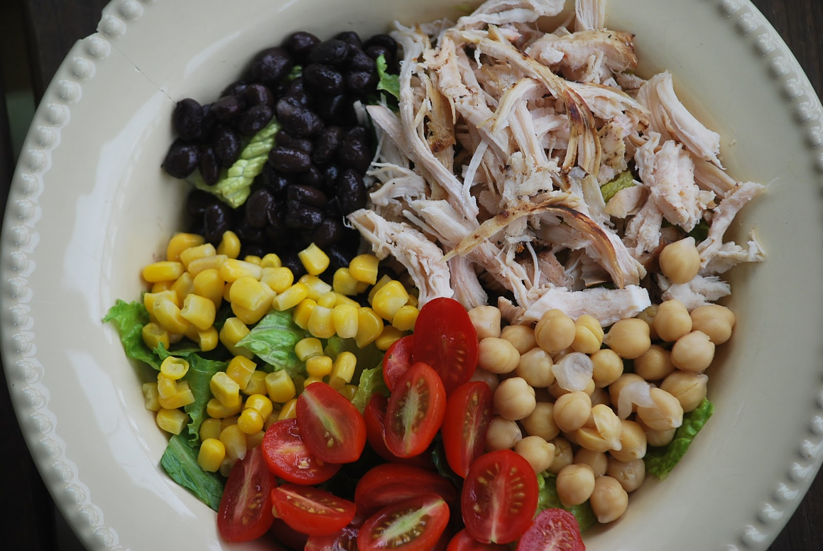 grilled chicken salad with feta, fresh corn, and