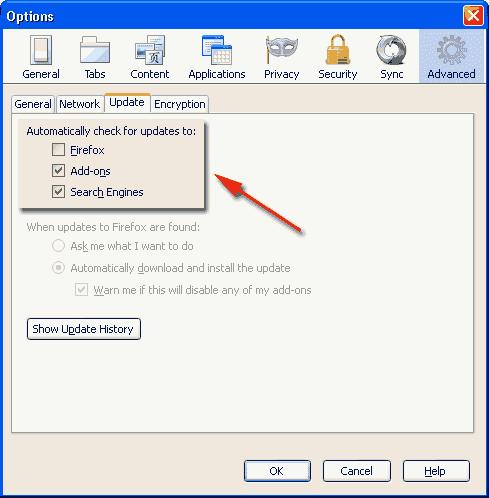 cara nonaktifkan mozila firefox automatic update