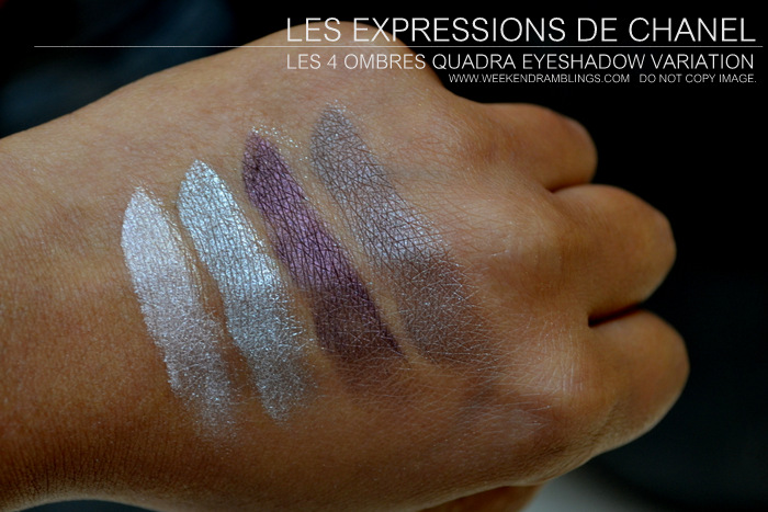 Les Expressions de Chanel Makeup Collection 4 Ombres Quadra Eyeshadow Palette Variation Swatches Indian Beauty Blog