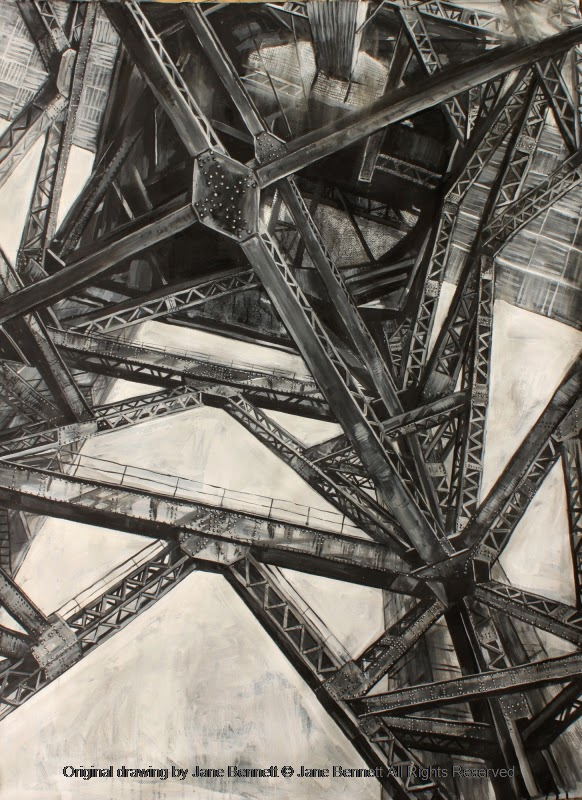 plein air charcoal and ink drawng of the Hammerhead Crane, Garden Island by industrial heritage artist Jane Bennett