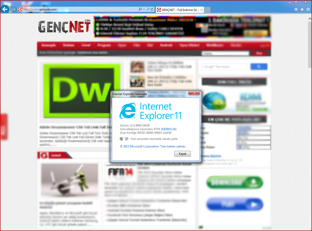 Internet Explorer 11 (Windows 7) Final Sürümü Tam İndir