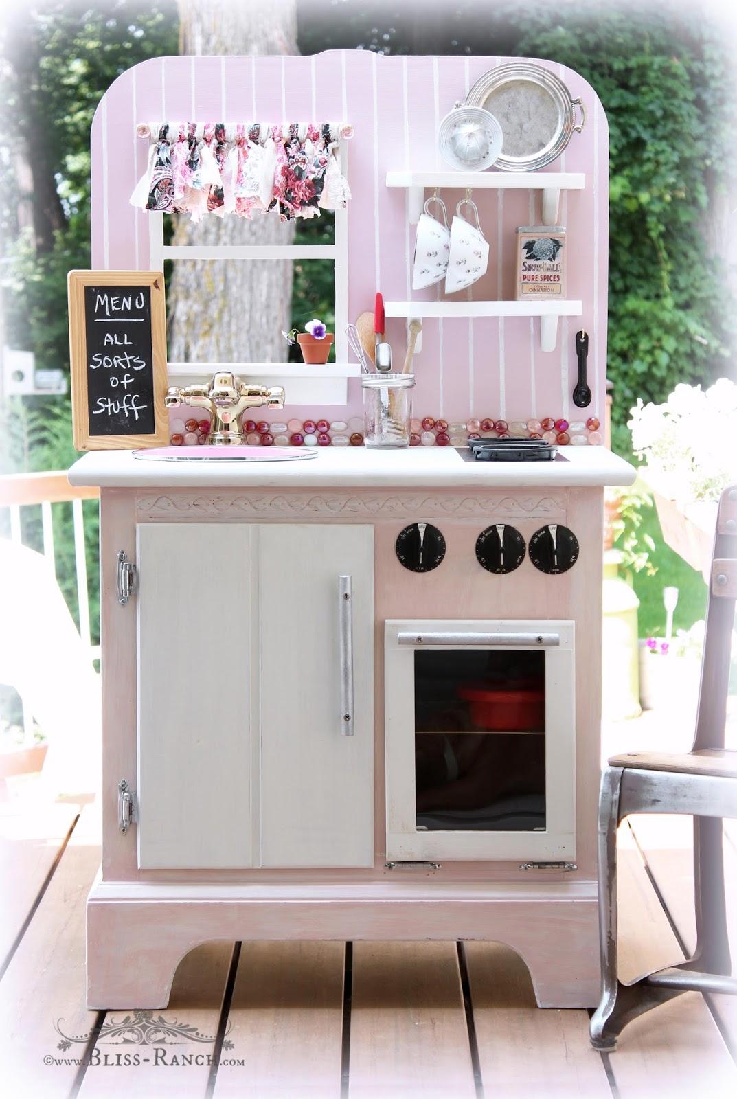 Recycled Nightstand Play Kitchen Bliss-Ranch.com  #playkitchen #maisonblanchepaint  #paintedfurniture #ad
