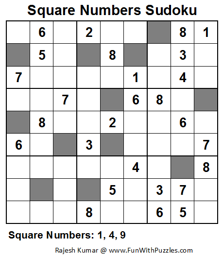 Square Numbers Sudoku (Fun With Sudoku #35)