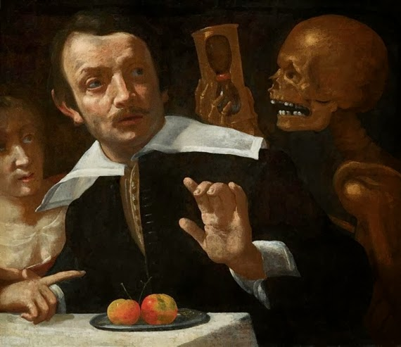 A vanitas scene with death holding an hour glass behind a startled man (Giovanni Martinelli, ca. 1625)