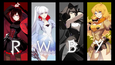 A drawing of each of the main characters with their associated letter (Ruby, Weiss, Blake, and Yang).