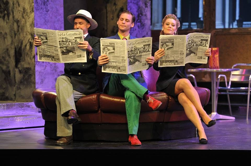 Julien Van Mellaerts, Gyula Rab and Angela Simkin in Rossini's La Gazzetta at the Royal College of Music