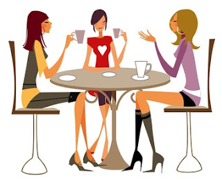 Image: Girls Meeting for Coffee Cartoon