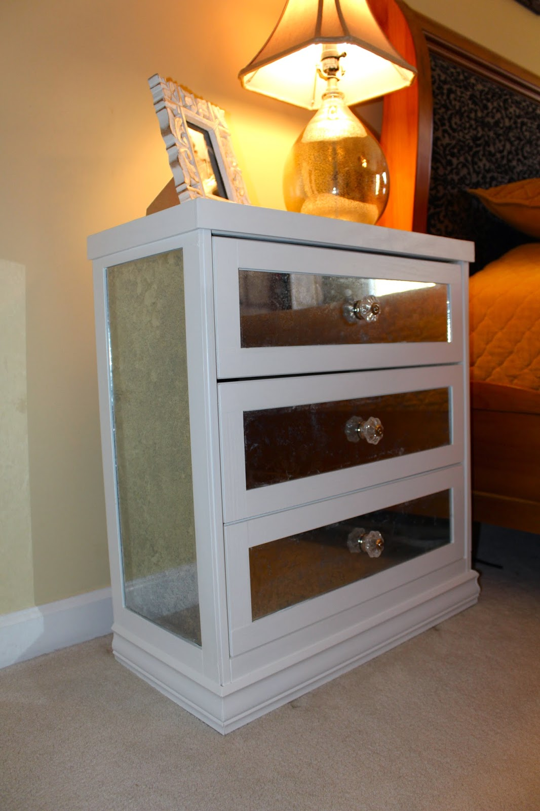 diy mirrored nightstand ikea rast hack