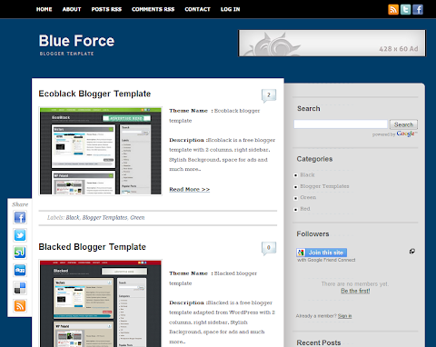 Blue Force Blogger Theme